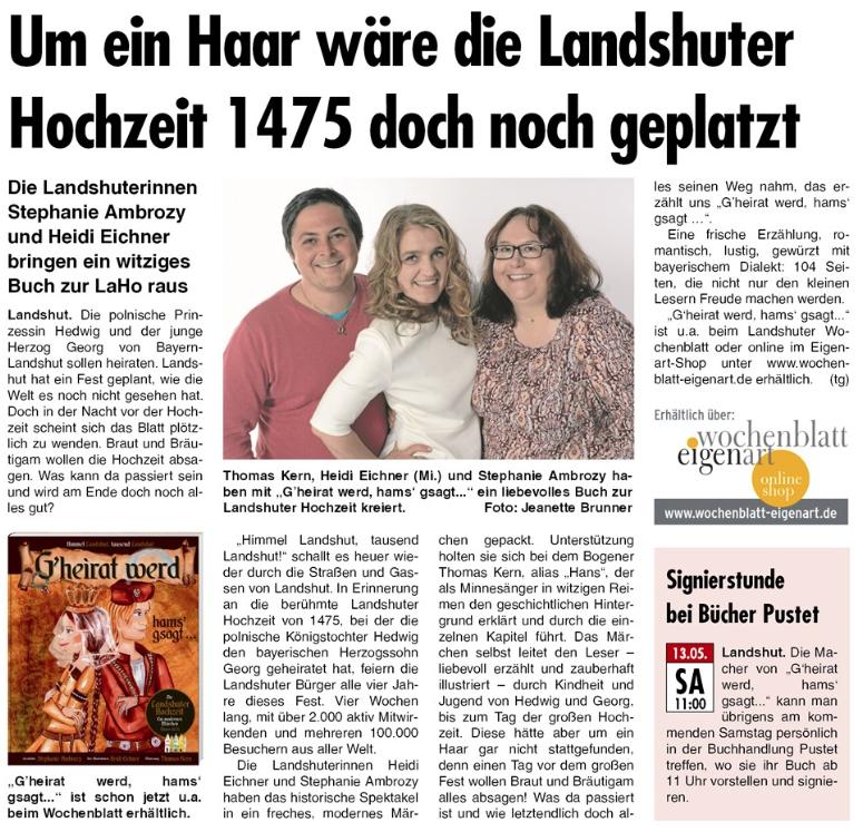 Wochenblatt landshut bekanntschaften